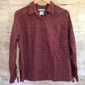 Columbia Red Long Sleeve Button Up Tie Wrist Shirt